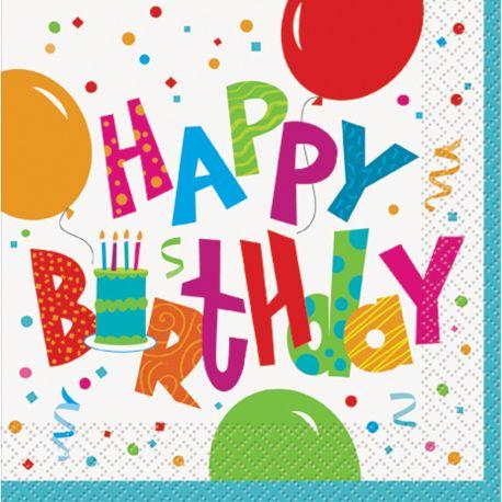 16 Superbes serviettes happy birthday confettis idéal pour une décoration de table d'anniversaire colorée et festive Dimensions : 33cm x...