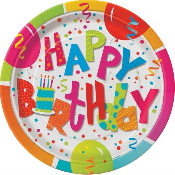 8 assiettes Birthday confettis
