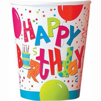 8 gobelets Birthday confettis