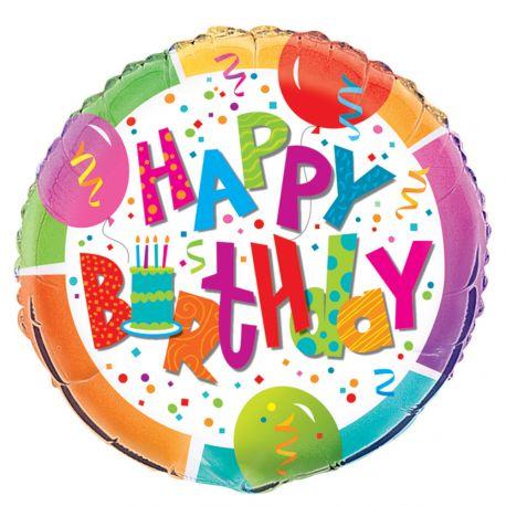 Ballon hélium en aluminium happy birthday confettis idéal pour une décoration de fête d'anniversaire colorée et festive Dimensions :...
