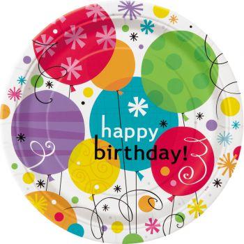 8 assiettes Birthday breezy ballons