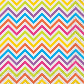 16 Serviettes chevrons multicolore