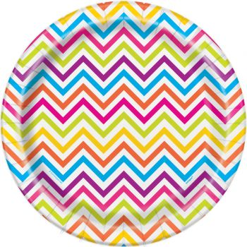 8 assiettes chevrons multicolore