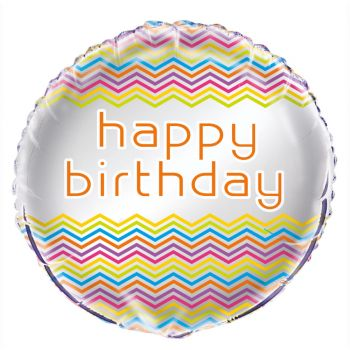 Ballon helium Birthday chevrons multicolore