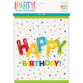 8 Sachets de fête Happy Birthday ballons