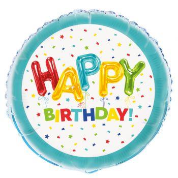 Ballon alu Happy Birthday ballons