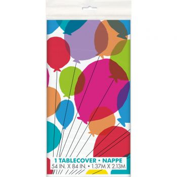 Nappe plastique Rainbow Birthday ballons