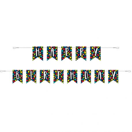 2 Banderoles happy birthday mosaic idéal pour une belle décoration de fête d'anniversaire Dimensions : 274cm