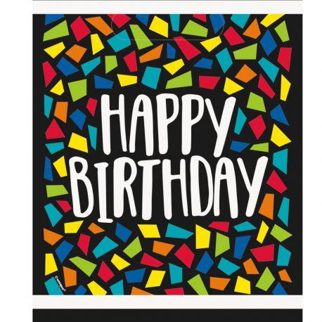 8 sachets de fête en plastique happy birthday mosaic idéal pour une décoration de table d'anniversaire Dimensions : 18cm x 22cm