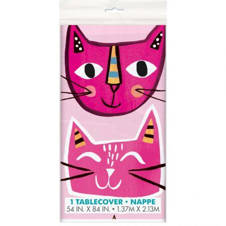Nappe en plastique idéal pour une décoration de table d'anniversaire pour les amoureux des chats Dimensions : 137cm x 213cm