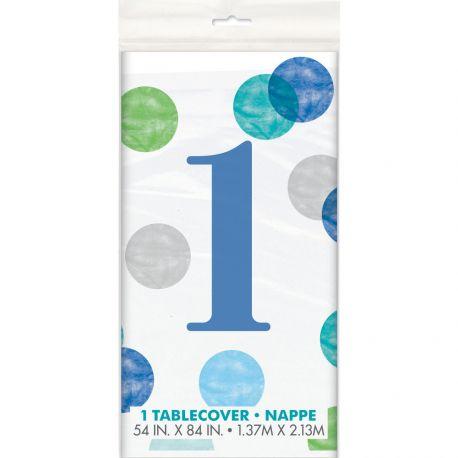 Nappe en plastique 1 an blue dots idéal pour une décoration de table d'un 1er anniversaire Dimensions : 137cm x 213cm