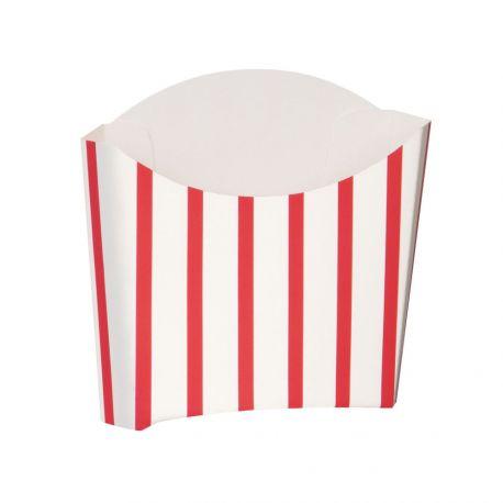 8 boites à frite en carton blanc à rayures rouge Dimensions : 7.5cm x 7.5cm