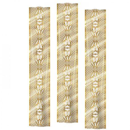 3 Décorsmuraux treillis or imprimé sur toile plastique transparente pour la déco de votre salle de fête Dimensions : 180 cm x 30 cm...