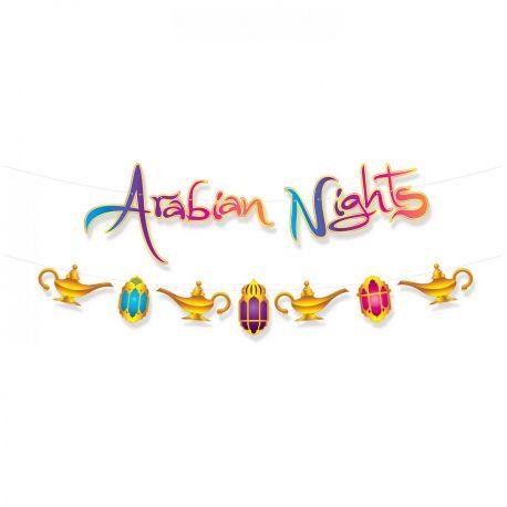 Banderole en carton Arabian night pour une superbe décoration de fête orientale sur les milles et une nuits Dimensions: 365cm