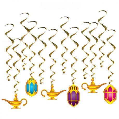 12 suspensions assortis pour réaliser une superbe décoration de fête orientale Contient 6 suspensions neutres d'une longueur de 43cm et...