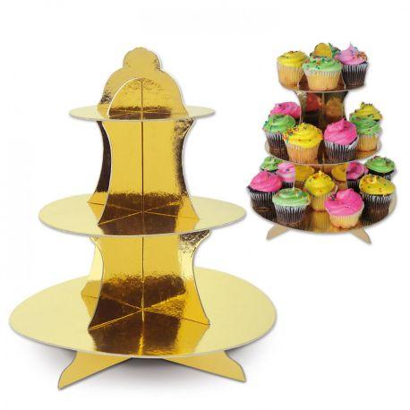 Beau présentoir à cupcakes ou petits gâteaux de couleur or brillant En carton à monter soi même très rapidement Dimensions: Hauteur 33cm