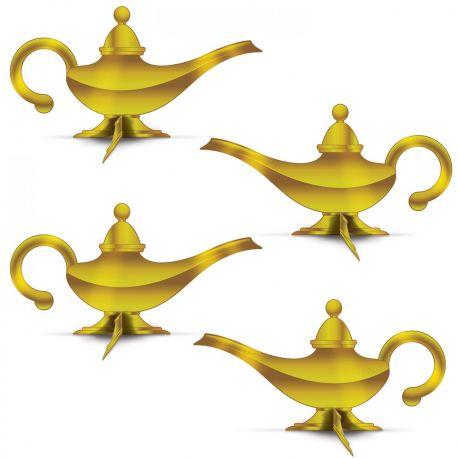4 Décors en carton en forme de lampe d'Aladin pour réaliser une superbe décoration de fête orientale Dimensions : 35cm x 18cm chacune