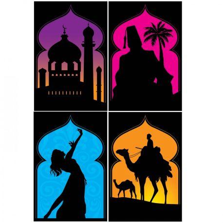 4 Pancartes en carton recto verso représentant des silhouettes orientale pour réaliser une superbe décoration de fête Les Milles et une...