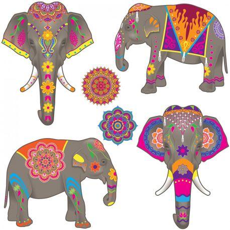 4 Décors en carton en forme d'éléphants et 2 Mandala pour réaliser une superbe décoration de fête Les Milles et une nuit Les décors sont...