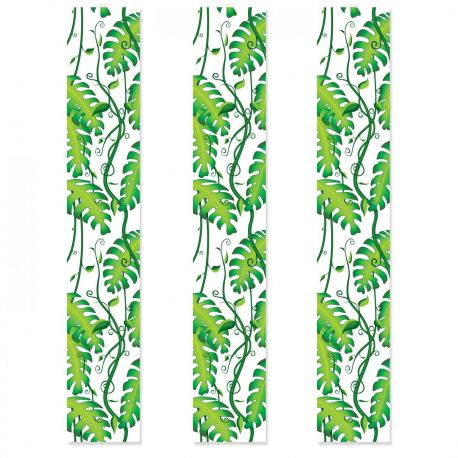 3 Décorsmuraux vertical feuille de la jungle imprimé sur toile plastique transparente pour la déco de votre salle de fête Dimensions...