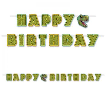Banderole Happy Birthday Dinosaure