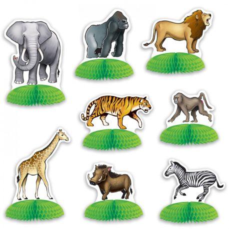 Assortiment de 8 décors à poser en forme d'animaux de la jungle pour une belle décoration de table sur le thème de la savane Dimensions...