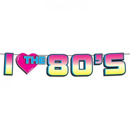 Banderole en carton I love 80 une superbe décoration de fête sur le thème des années 80 Dimensions: 182cm x 18cm