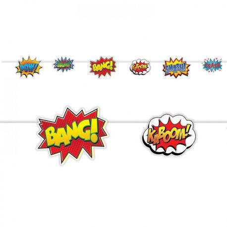 Superbe guirlande de bulles d'onomatopée pour réaliser la décoration de fête d'anniversaire sur le thème super héros Dimensions: 274cm x...