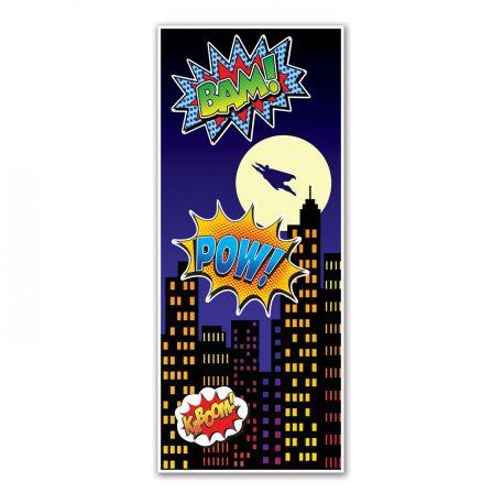 Décor de porte pour réaliser une superbe décoration de fête sur le thème Super héros Imprimé sur une toile en plastique...