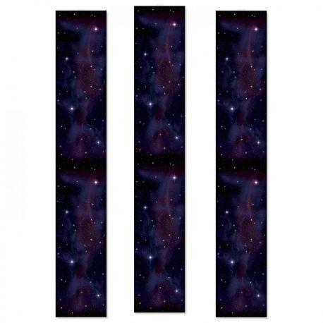 3 Décorsmuraux galaxie imprimé sur toile plastique transparente pour la déco de votre salle de fête Dimensions : 180 cm x 30 cm fois 3