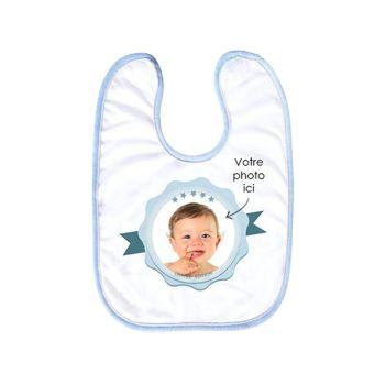 Bavoir bébé personnalisé décor label bleu