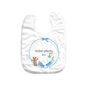 Bavoir bébé personnalisé décor baby bleu