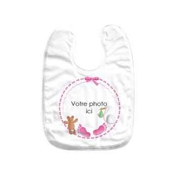 Bavoir bébé personnalisé décor baby rose