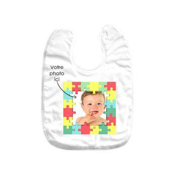 Bavoir bébé personnalisé décor puzzle