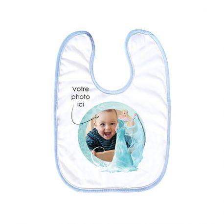 Bavette pour bébé avec scratch à personnaliser avec vos propres photos ou illustations. Lavable en machine jusqu'à 60°. Taille : 30 X 35 cm