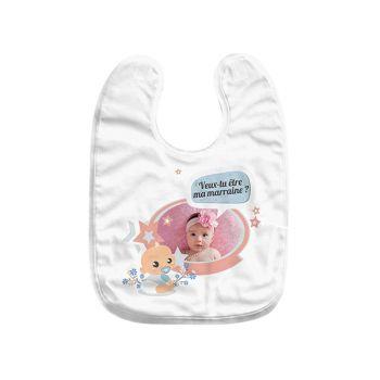 Bavoir bébé personnalisé décor Marraine
