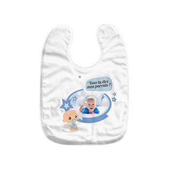 Bavoir bébé personnalisé décor Parrain