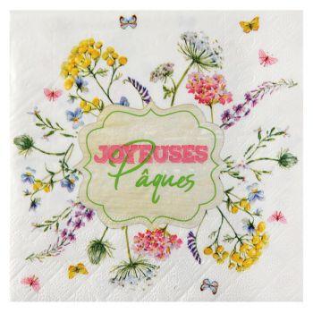 20 serviettes lapin de pâques fleuri