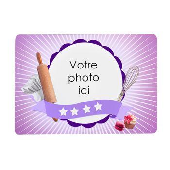 Tapis de souris personnalisé décor pâtisserie violet