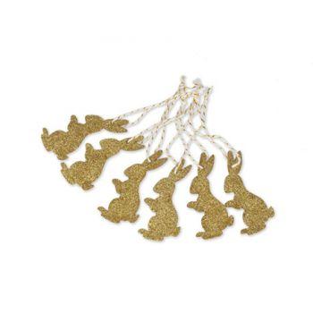 6 Suspensions lapin blanc pailleté or
