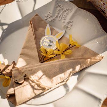 Assortiment de 12 pics lapin jaune et fuchsia