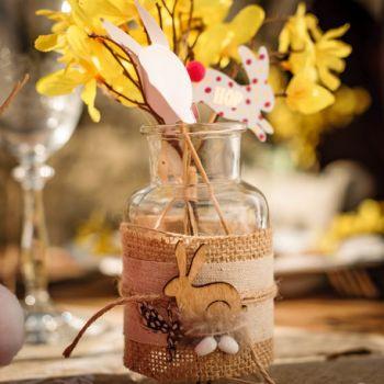 Vase lapin jute et bois
