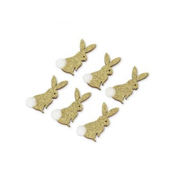 6 lapins pailletés or adhésif