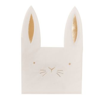 16 serviettes lapin or