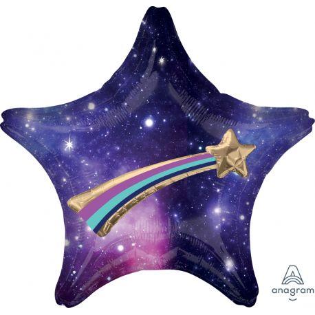 Superbes ballons en aluminium en forme d'étoile aux couleur de la galaxy + étoile filante en 3D qui se fixe au centre du ballon. A...