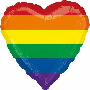 Ballon hélium coeur rainbow