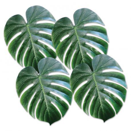 4 Feuilles de palmier en plastique pour agrémenter une décoration de fête tropicale Dimensions d'une feuille: 33cm