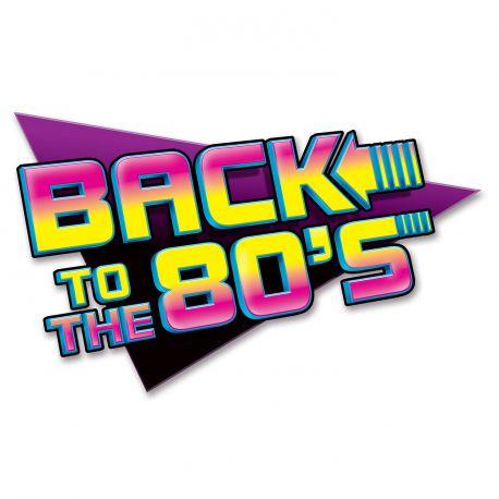 Pancartes en carton Back to the 80'spour décorer vos murs pour fête d'anniversaire ou une soirée sur le thème des années 80 Dimensions:...