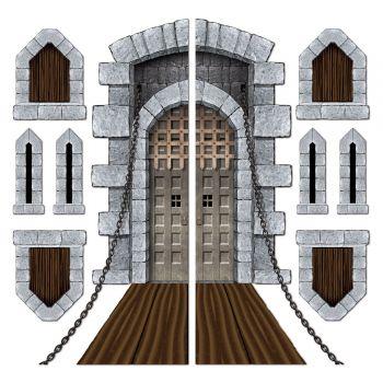 Décor mural escalier pont levis et meurtrière de château
