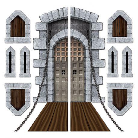 Toile en plastique imprimée représentant un pont levis, des fenêtre et des meurtrières de château, à fixer sur votre mur pour créer une...
